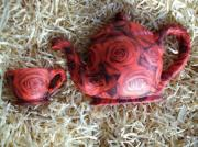 Ceramic-Decoupage-Teapot-Life-Size-Red-Rose