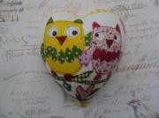 Friends-owl-Family-Pure-Ceramic-Decoupage-Heart