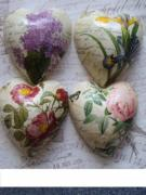 A-Set-of-four-Rose-Botanical-Pure-Ceramic-Decoupage-Heart